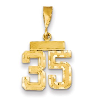 14k Small Diamond-cut Number 35 Charm