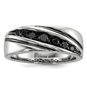 Sterling Silver Rhod Plated Black Diamond Men's Band Ring