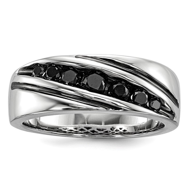Quality Gold Sterling Silver Rhod Plated Black Diamond Men's Band Ring
