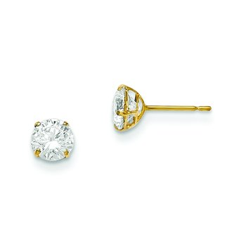 14k Madi K 5mm Round CZ Basket Set Stud Earrings