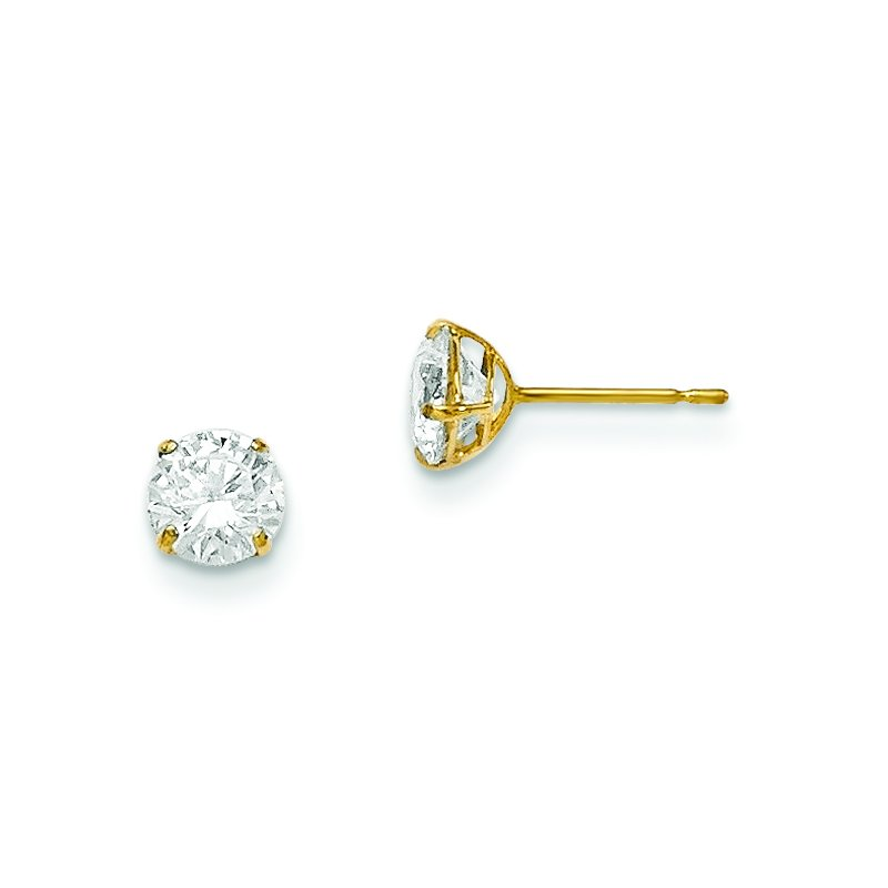 Quality Gold 14k Madi K 5mm Round CZ Basket Set Stud Earrings