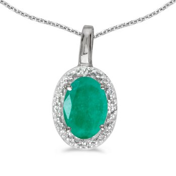 14k White Gold Oval Emerald And Diamond Pendant
