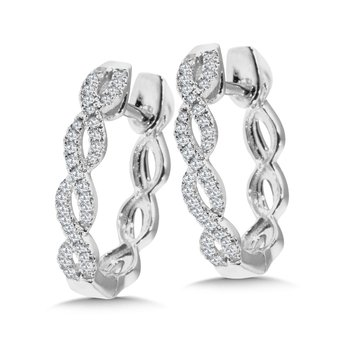 Criss Cross Diamond Hoop Earrings