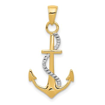 14K Two-tone Polished Anchor W/Rope Pendant