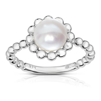 Silver Pearl with Bead Halo Ring