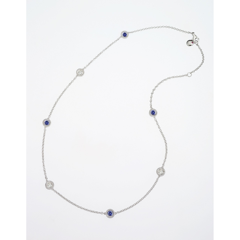 Roberto Coin Cento And Blue Sapphire Station Necklace