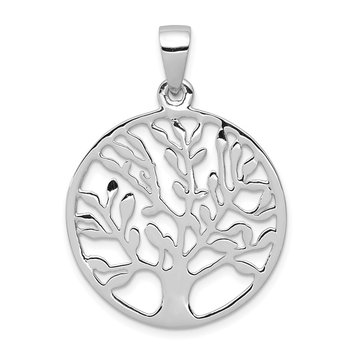 Sterling Silver Rhodium-plated Polished Circle w/Tree Pendant