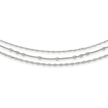 Sterling Silver Beaded Layered with 2in .ext Necklace