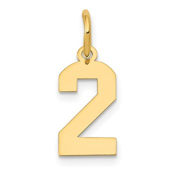 14k Small Polished Number 2 Charm