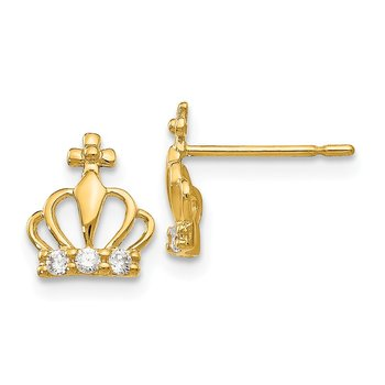 14k Madi K CZ Children's Crown Post Earrings