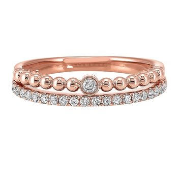 Diamond ¼ Eternity Ball-Bead Stackable Split Band in 14k Rose Gold (⅕ ctw)