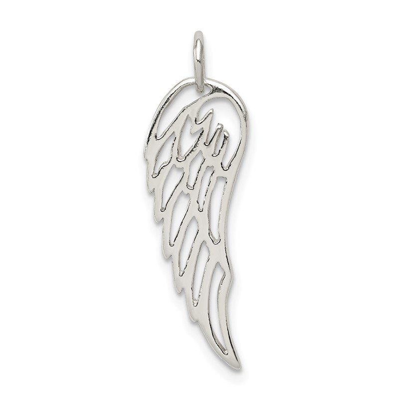 Quality Gold Sterling Silver Polished Angel Wing Charm