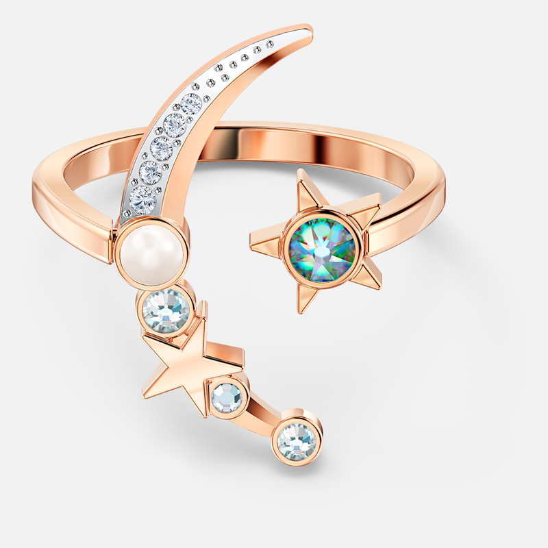 Swarovski Starry Night Moon Ring, Light multi-colored, Rose-gold tone plated
