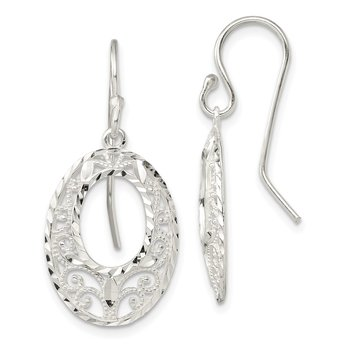 Sterling Silver Diamond-cut Open Oval Dangle Shepherd Hook Earrings