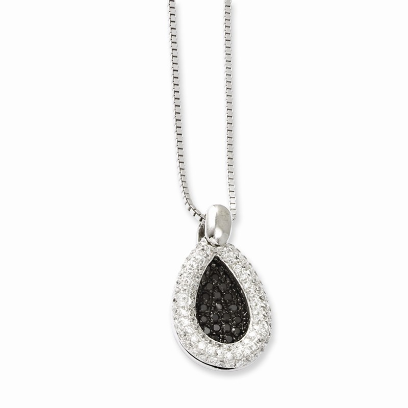 Sterling Silver 18in W// Rhodium-plated /& Synthetic CZ Brilliant Embers Teardrop Necklace