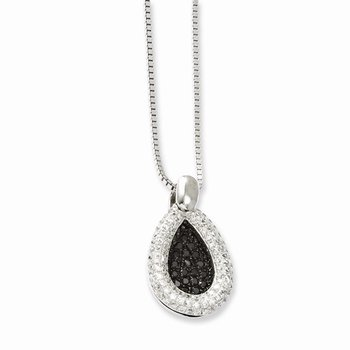 SS Rhodium-Plated CZ Brilliant Embers Teardrop Necklace