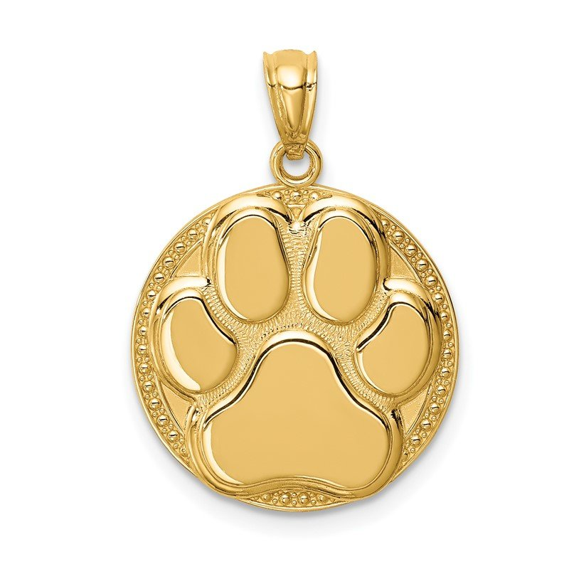 Quality Gold 14K Dog Paw Medal Pendant