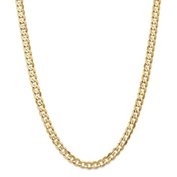14k 6.75mm Open Concave Curb Chain