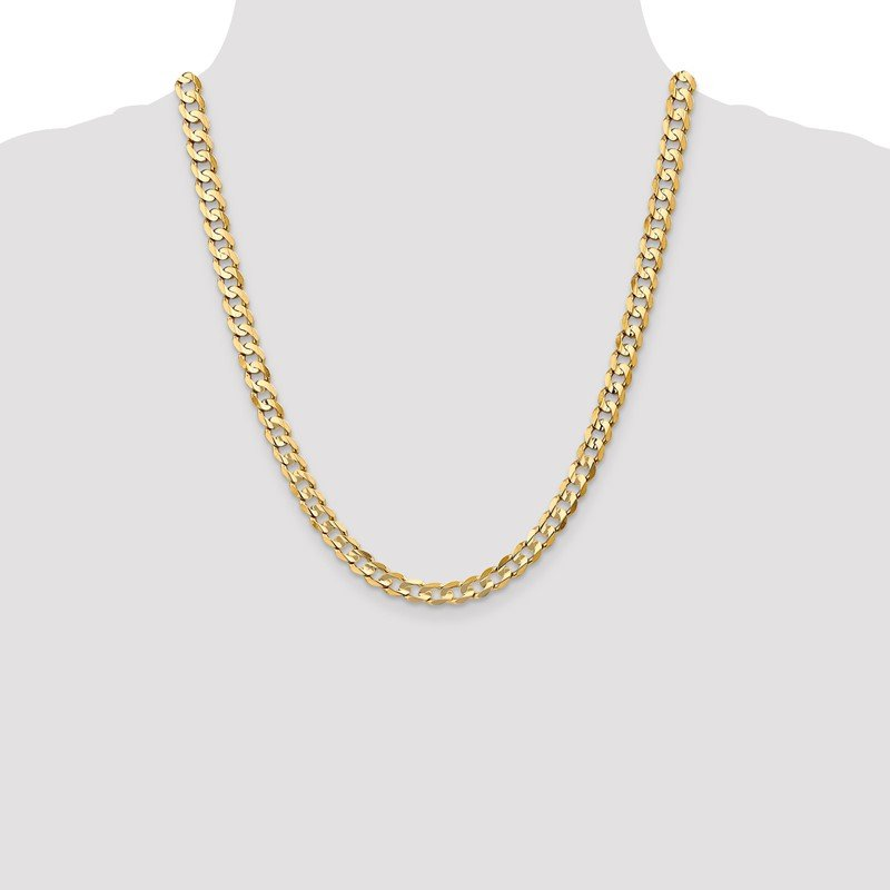 Quality Gold 14k 6.75mm Open Concave Curb Chain