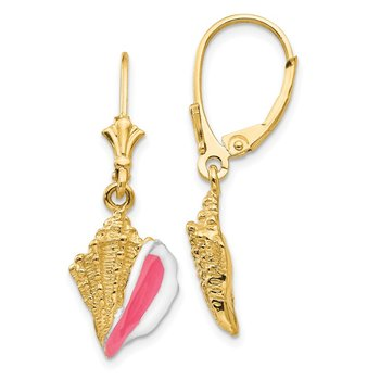 14K Enameled Conch Shell Leverback Earrings