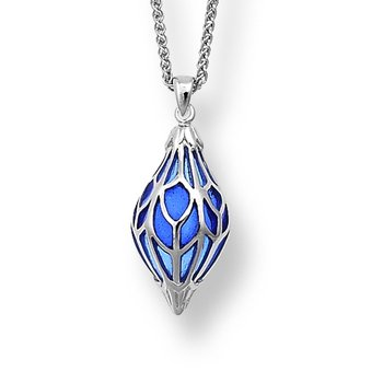 Blue Ornament Necklace.Sterling Silver - Plique-a-Jour