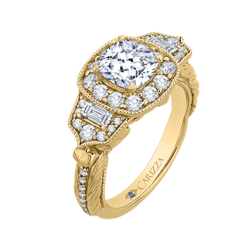 18K Yellow Gold Cushion Diamond Halo Vintage Engagement Ring (Semi-Mount)