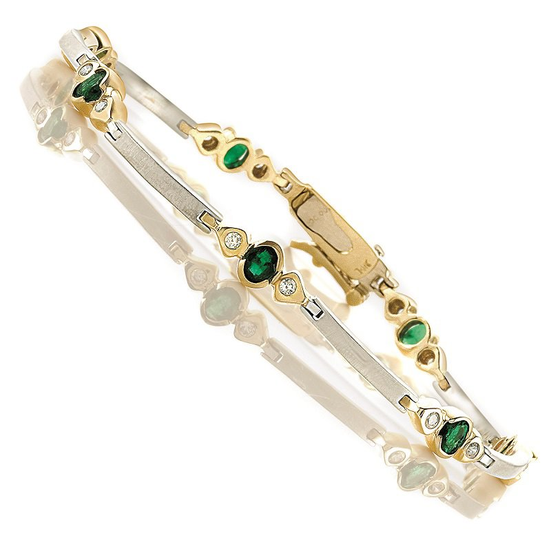 Gemsone 14K Emerald & Diamond Bracelet