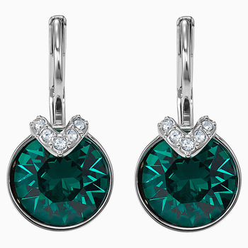 Bella V Pierced Earrings, Green, Rhodium plated