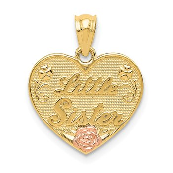 14k Two-tone Little Sister Heart Pendant