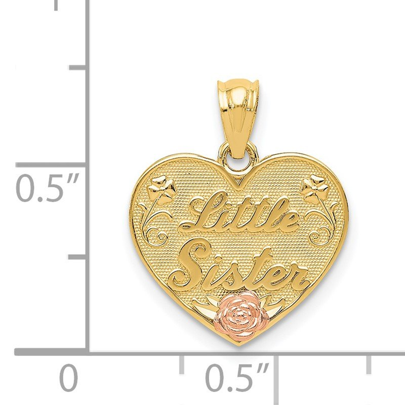 Quality Gold 14k Two-tone LITTLE SISTER Heart Pendant