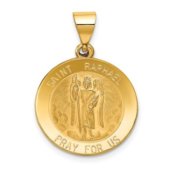 14k Polished and Satin St Raphael Medal Hollow Pendant