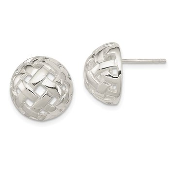 Sterling Silver 14mm Fancy Button Post Earrings
