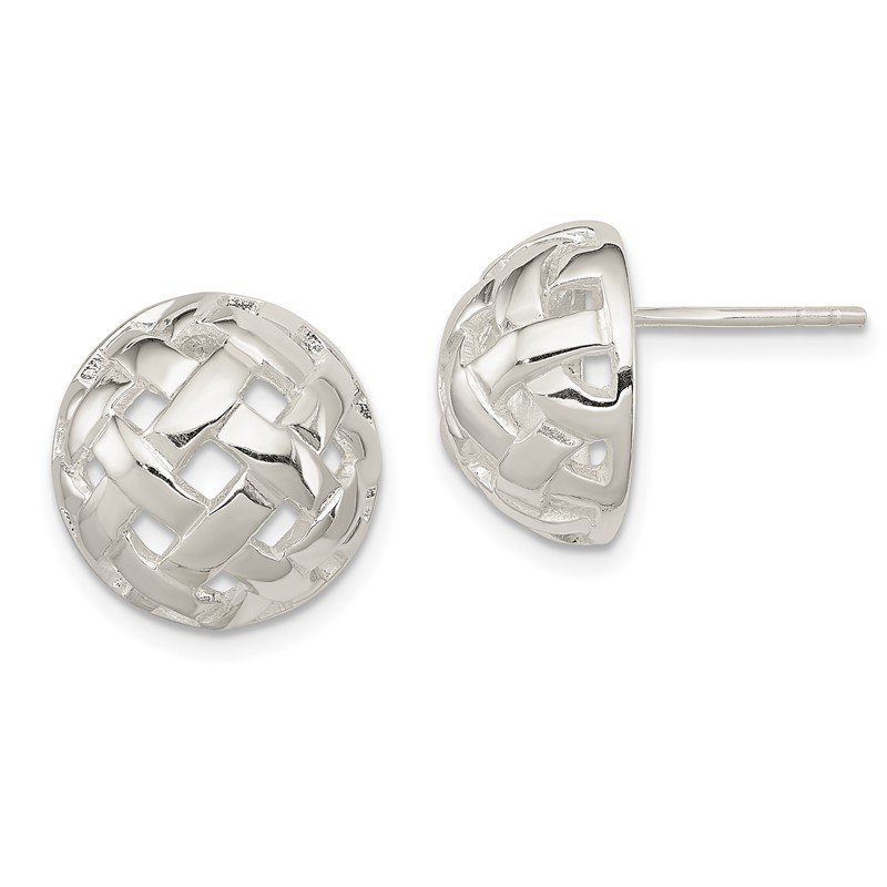 Quality Gold Sterling Silver 14mm Fancy Button Post Earrings