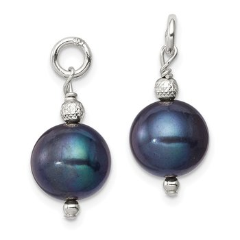 Sterling Silver FW Cultured Peacock Pearl and Bead Hoop Earring Enhancers