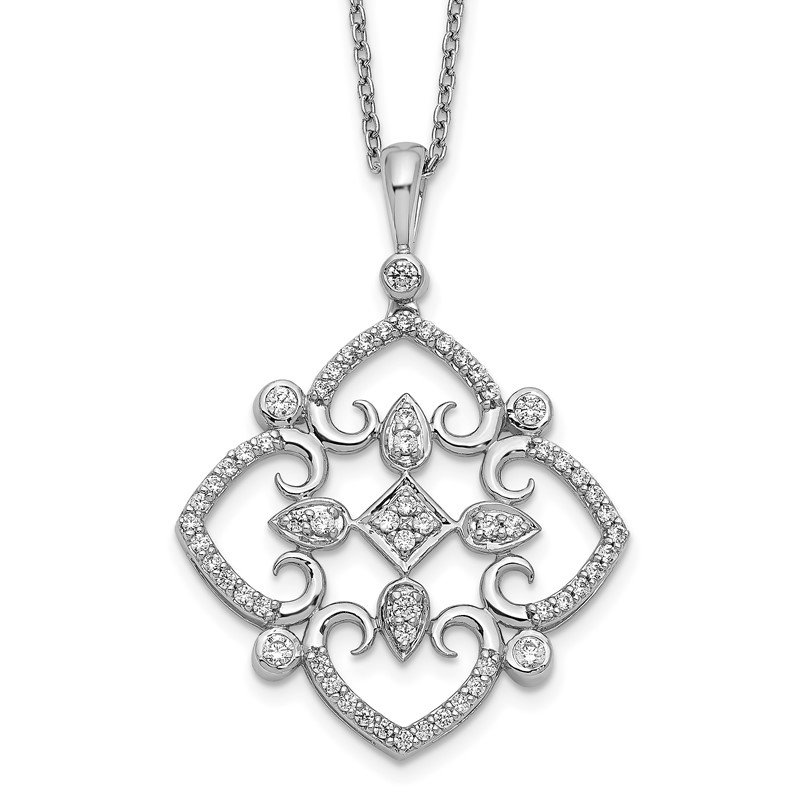 Arizona Diamond Center Collection 14k White Gold Diamond Vintage 18 inch Necklace