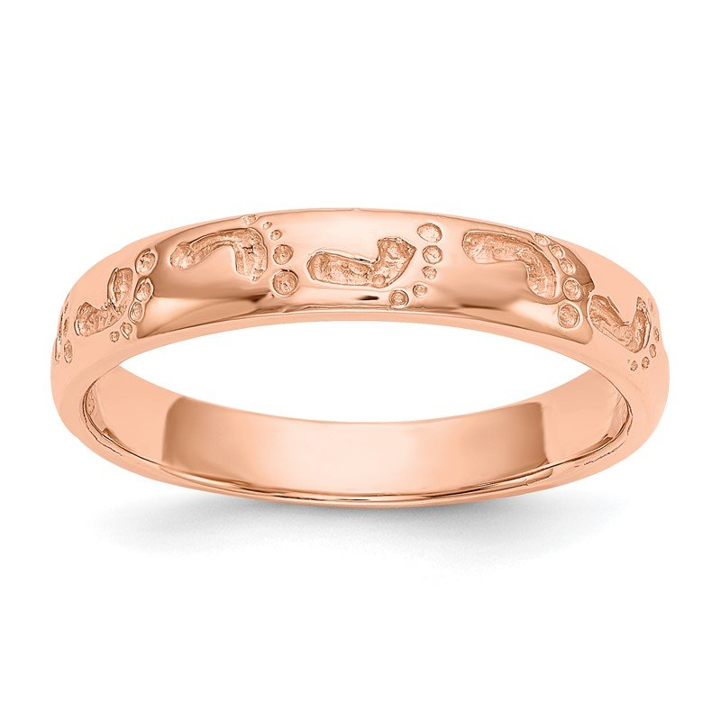 Quality Gold 14k Rose Gold Footprints Ring