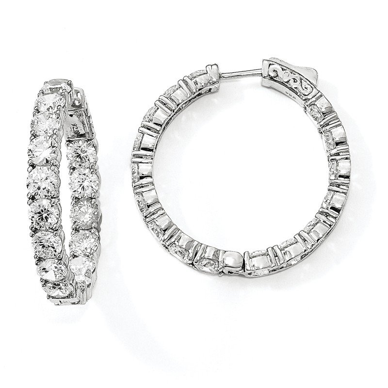 Quality Gold Sterling Silver Rhodium-plated CZ In & Out Round Hoop Earrings