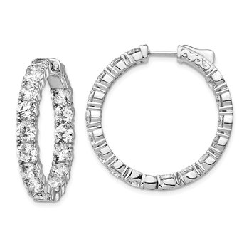 Sterling Silver Rhodium-plated CZ In & Out Round Hoop Earrings