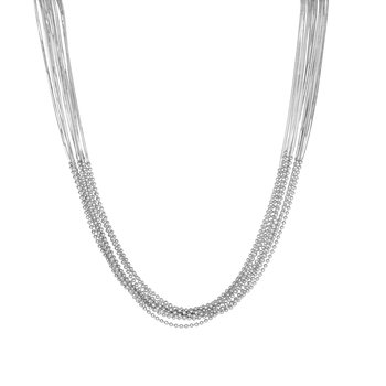Silver Bead & Snake Chain Multistrand Necklace