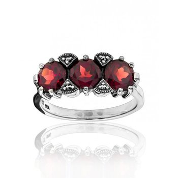 Oxidized Silver, Faceted Garnet, Prong-Set Marcasite