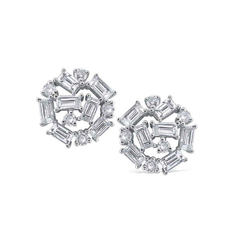 KC Designs 14K Baguette and Round Diamond Earrings