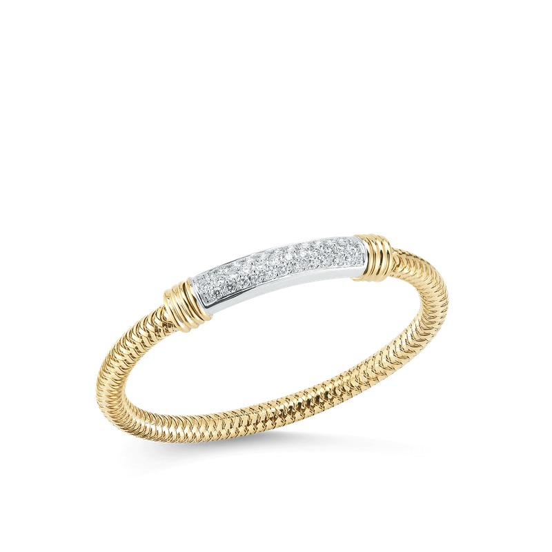Roberto Coin 18Kt Gold Flexible Bangle With Diamond Bar