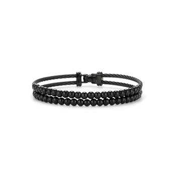 Dual Row Black Cable & Black Onyx Bracelet