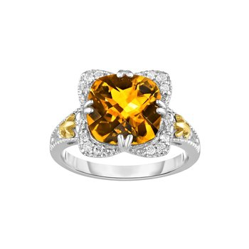 Silver & 18K Cushion Citrine Gem Candy Ring