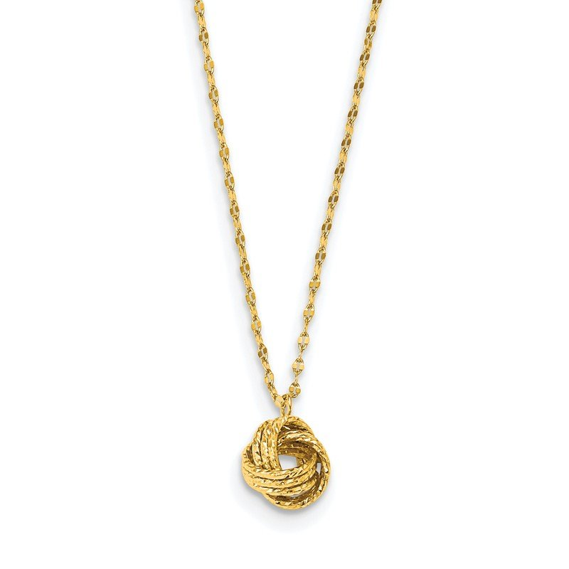 Quality Gold 14k Diamond-cut Love Knot Necklace