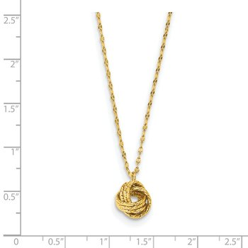 14k Diamond-cut Love Knot Necklace