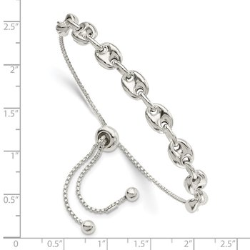 Sterling Silver Polished Link Adjustable Bracelet