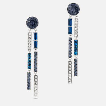 Karl Lagerfeld Drop Pierced Earrings, Blue, Palladium plated
