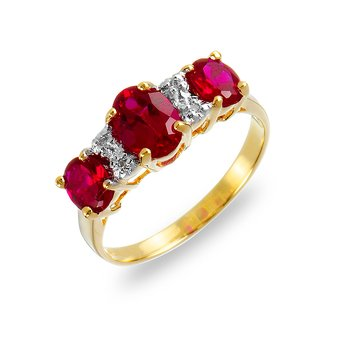 14K YG Diamond & Ruby Ring