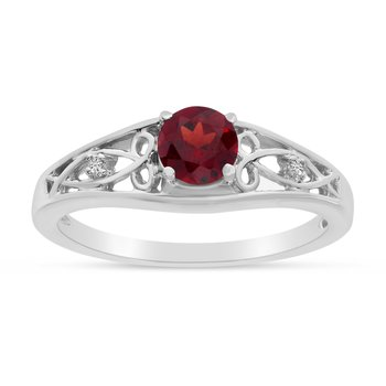 14k White Gold Round Garnet And Diamond Ring